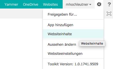 Microsoft SharePoint Websiteinhalte öffnen