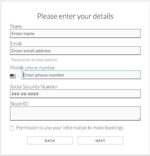 Social security number panel