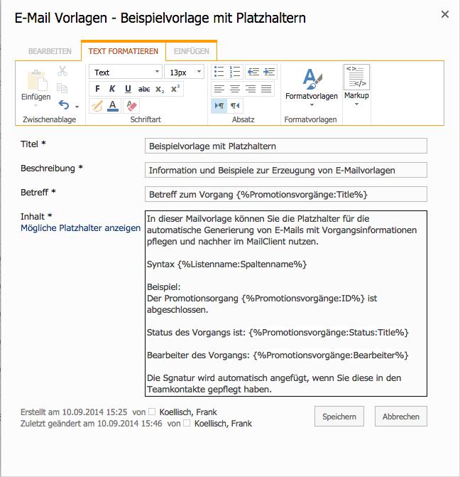 E-Mail Vorlagen - Beispielvorlage mit Platzhaltern