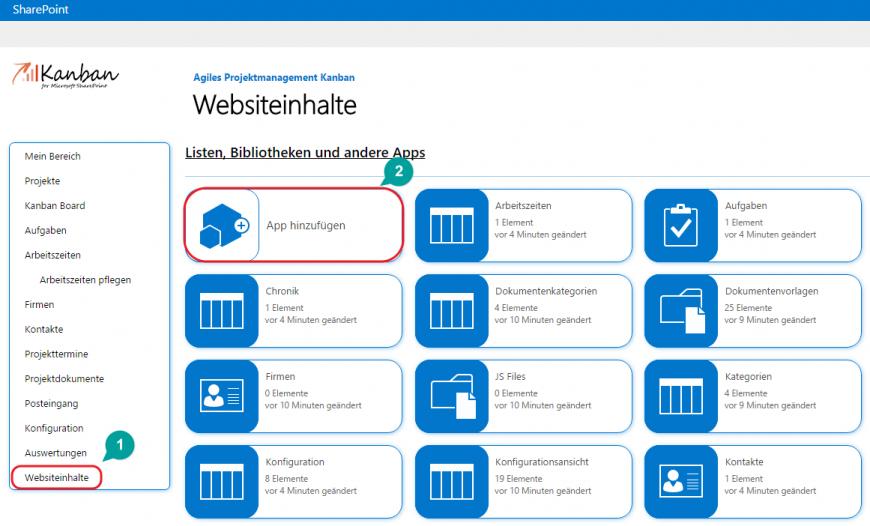 SharePoint Websiteinhalte App hinzufügen
