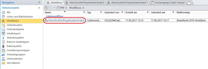 SharePoint Designer neuer Workflow