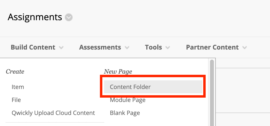 Screenshot of Blackboard Content Folder