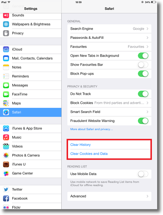Clearing the cache on an ipad my private network step 2 clearing cache ccuart Choice Image