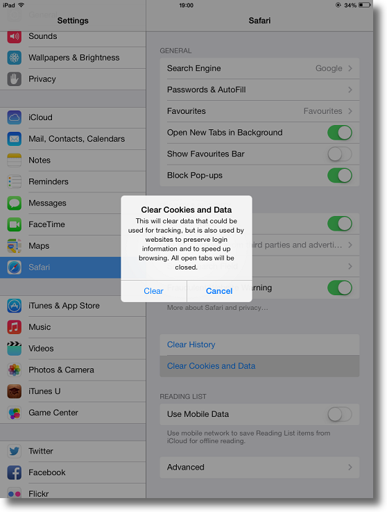 how to clear facebook cache on ipad