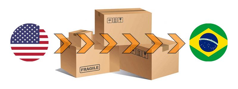 Ilustração com caixas de encomendas, e bandeiras dos EUA e Brasil