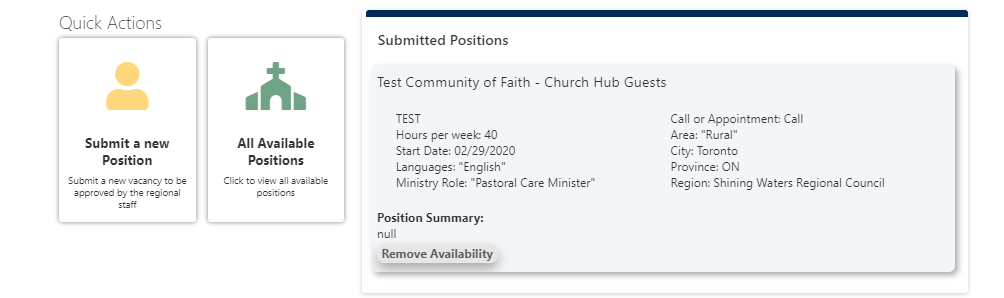 Submitted Positions window