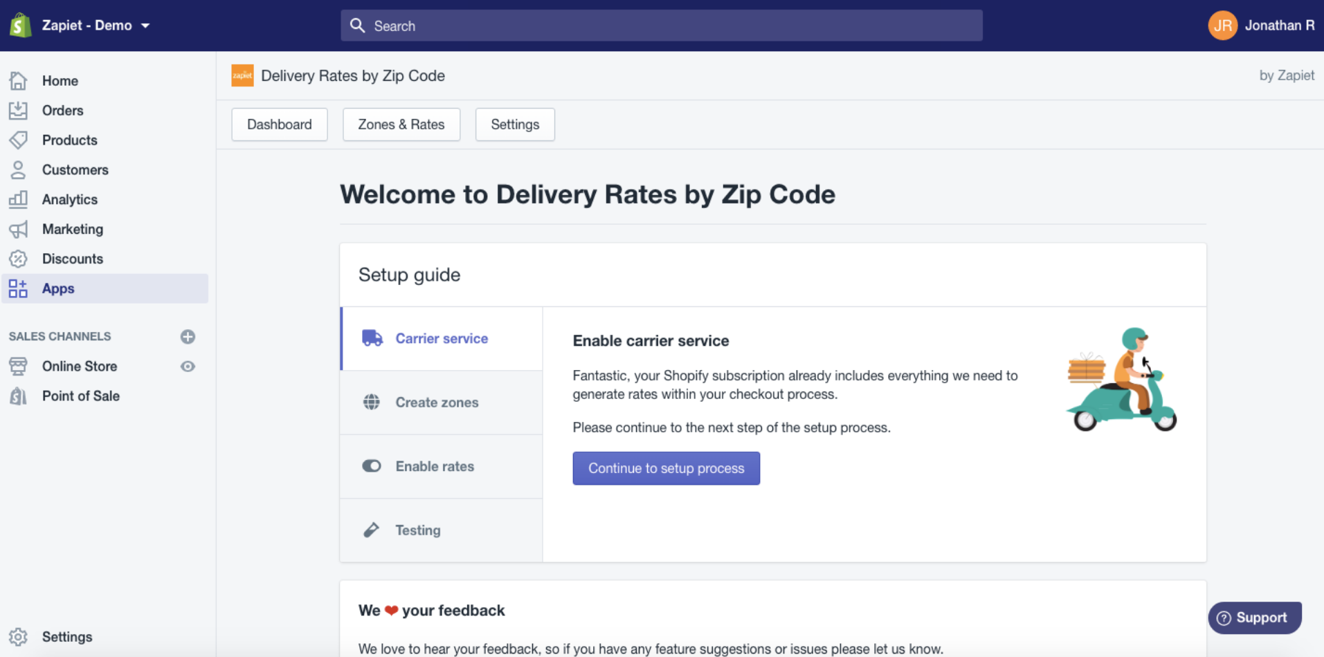 install delivery rates by zip code