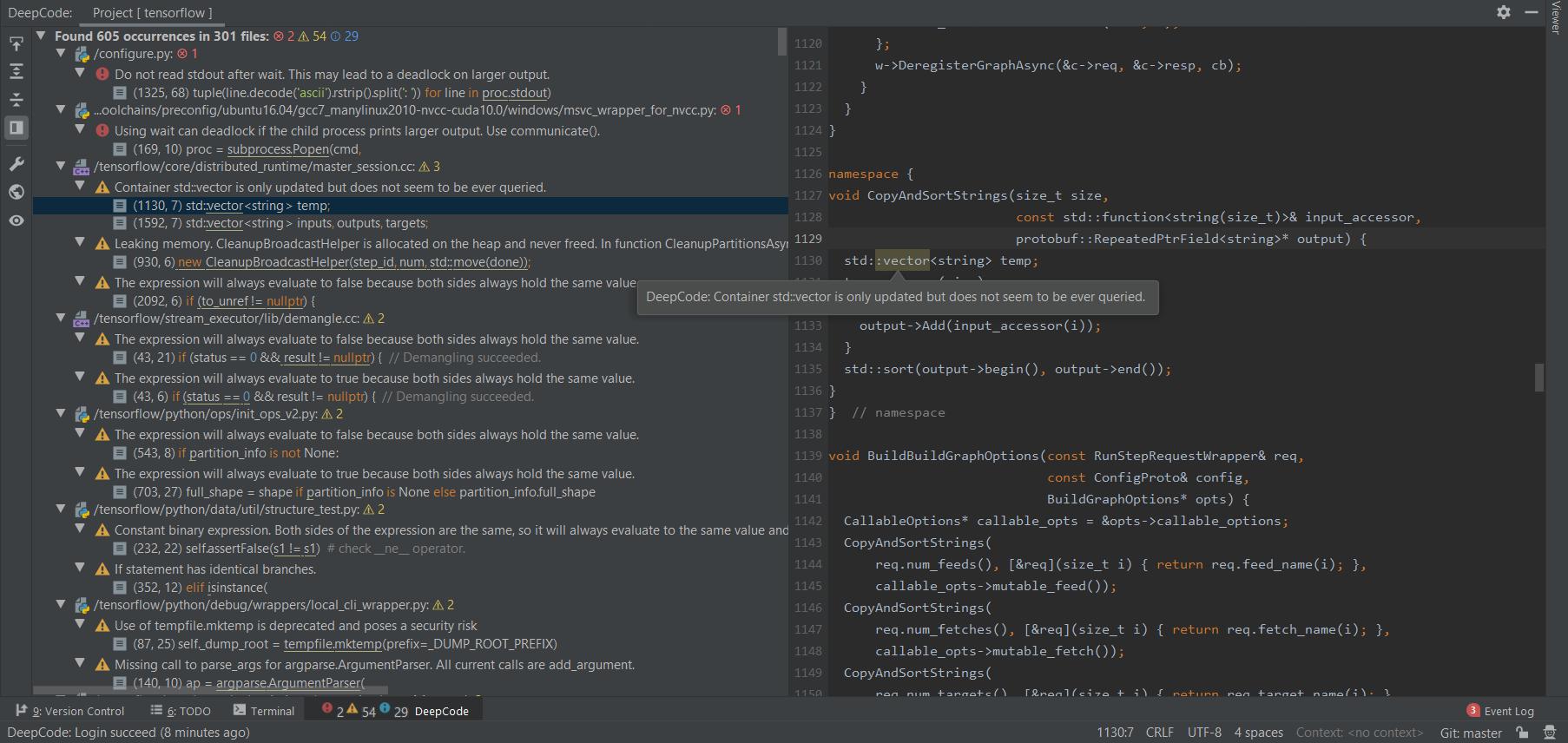 DeepCode plugin for JetBrains IDE