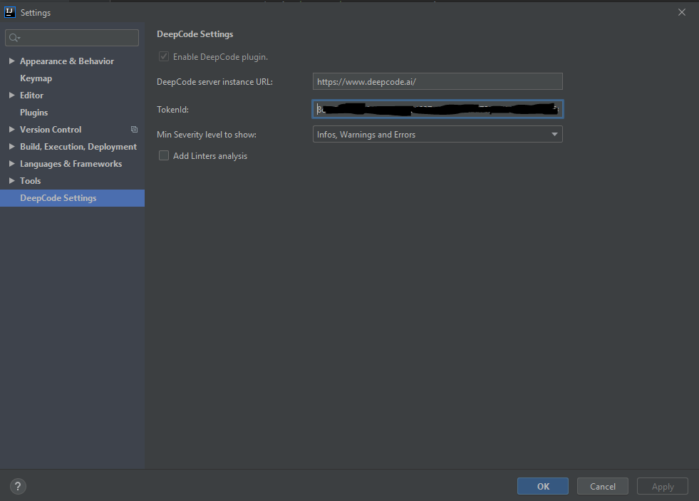 DeepCode Settings in intelliJ IDE