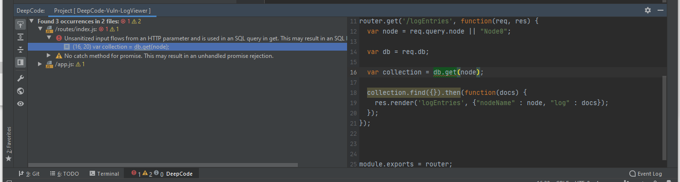 DeepCode Tool Window in IntelliJ IDE