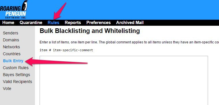 How to Bulk Add Domains or Addresses to a Blacklist/Whitelist