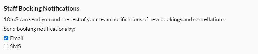 staff booking notifications