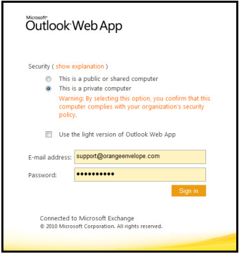 microsoft outlook web app 2010 login