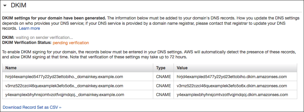 The DKIM section of a details page for an identity. Three fictitious CNAME                         records are shown.