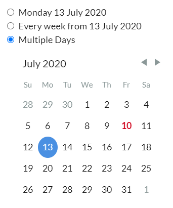 Selecting multiple dates will let you change your availability for only those dates.