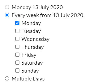 "Selecting ""Every Week from"" will change your availability for the selected day of the week, for all future weeks."