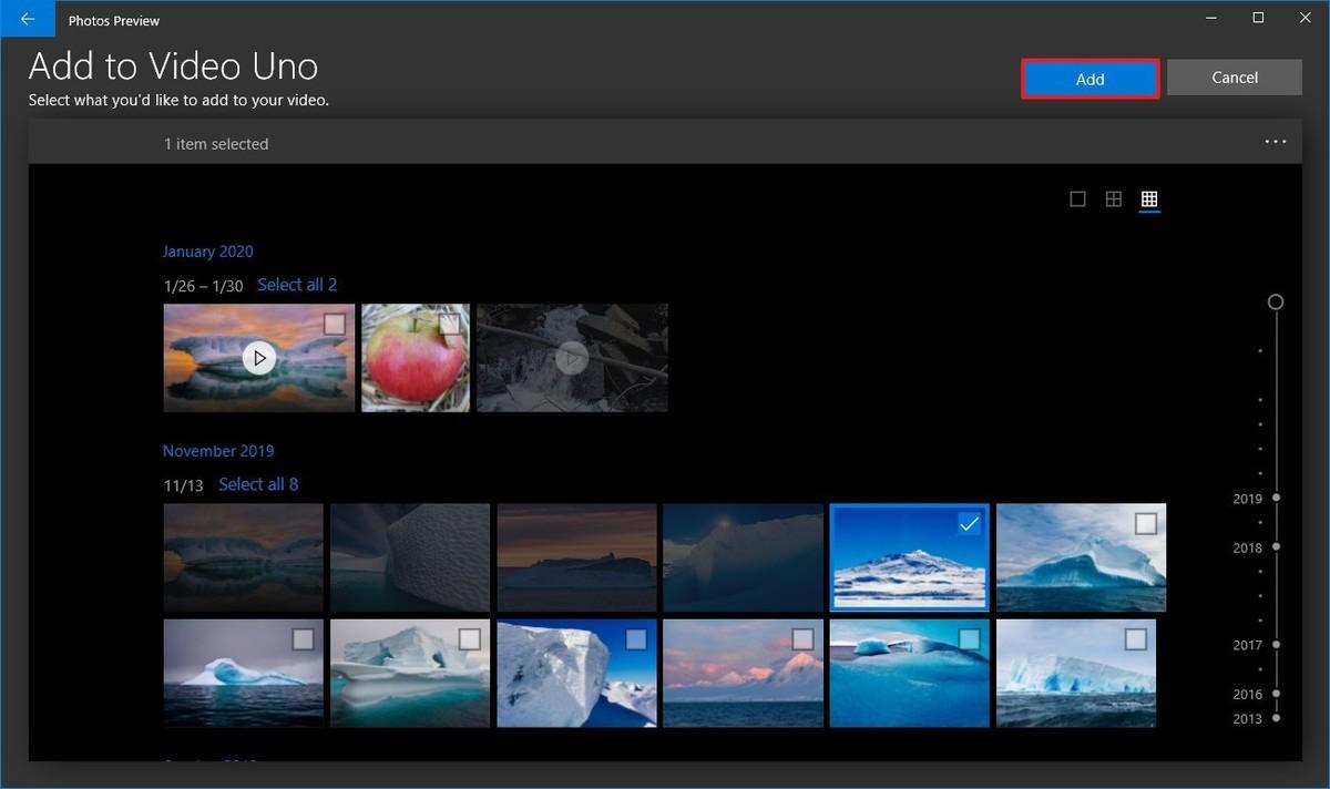 Photos video editor selection option