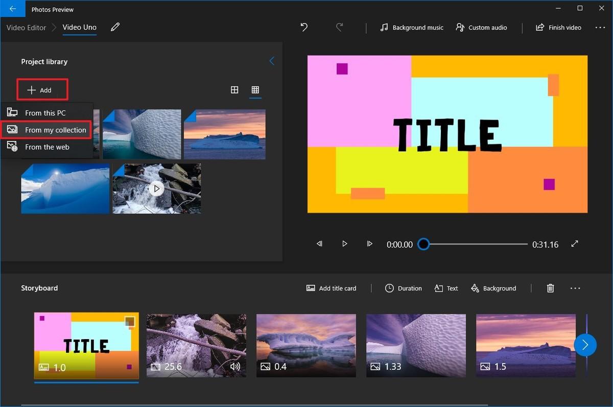 Photos video editor add media option