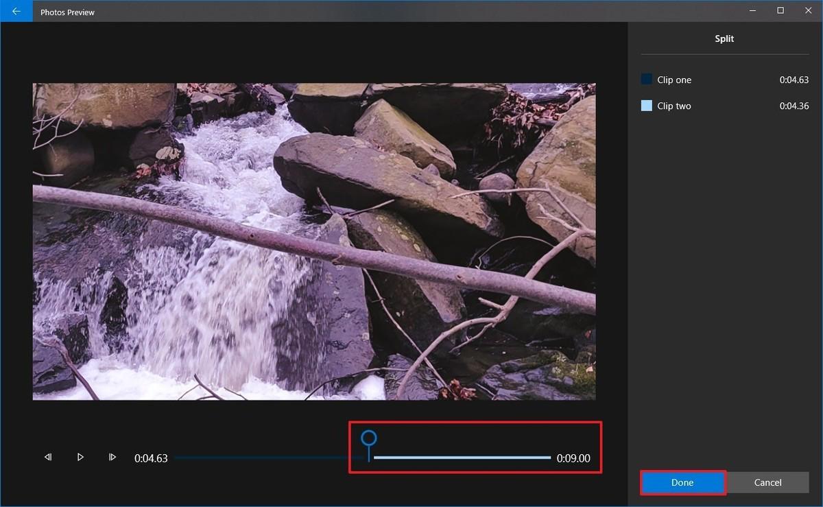 Photos video editor split settings