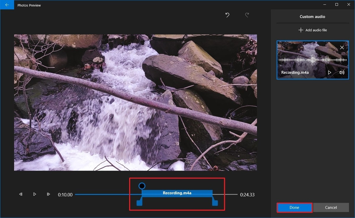 Photos video editor add narration to video project