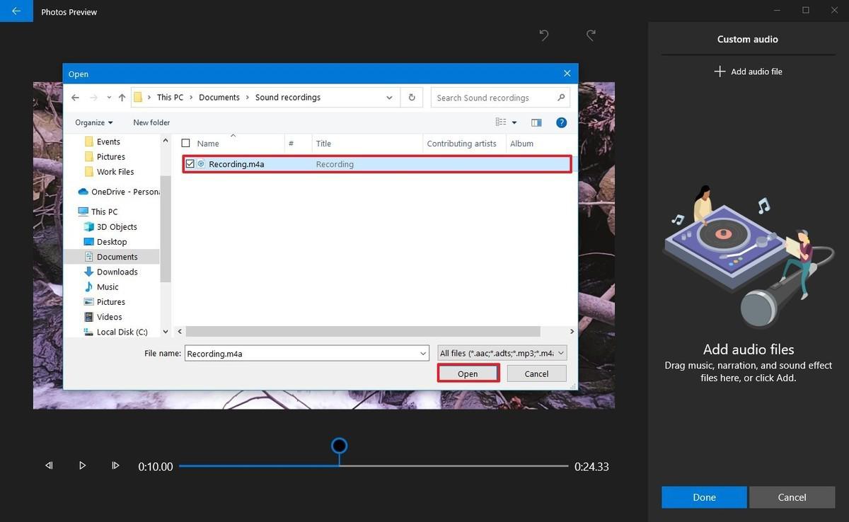 Photos video editor select recording file option