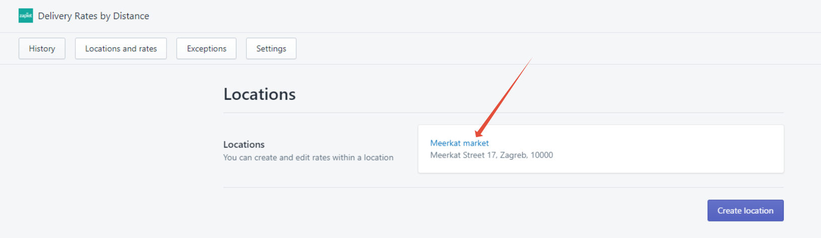 Click the location you want to create rates for