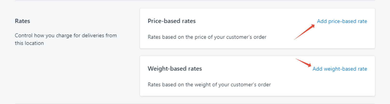 Click price-based rate or weight-based rate