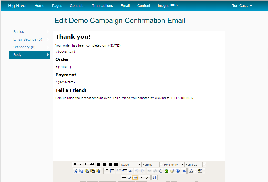 How to change the confirmation page and email : Big River