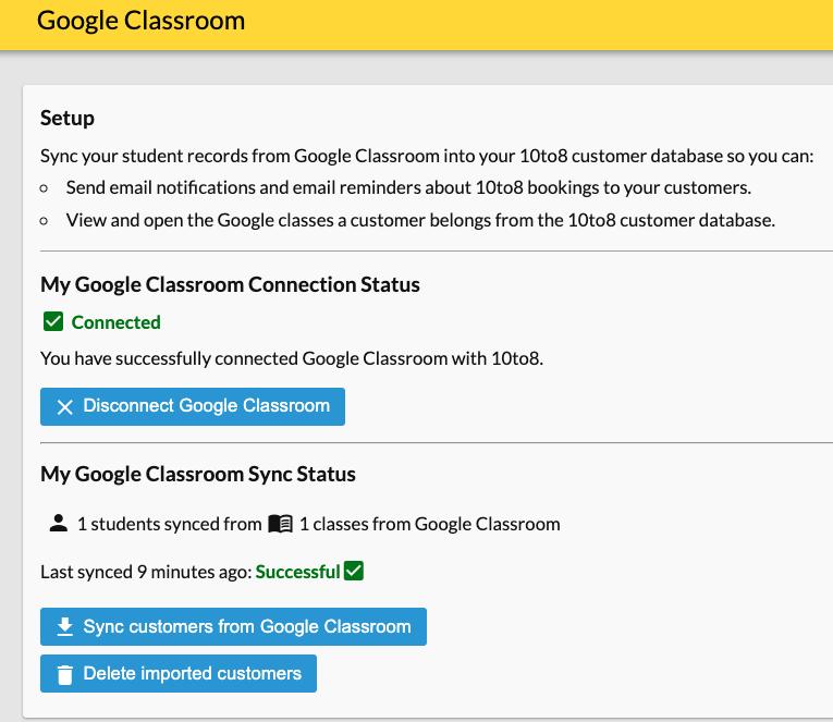 google classroom status