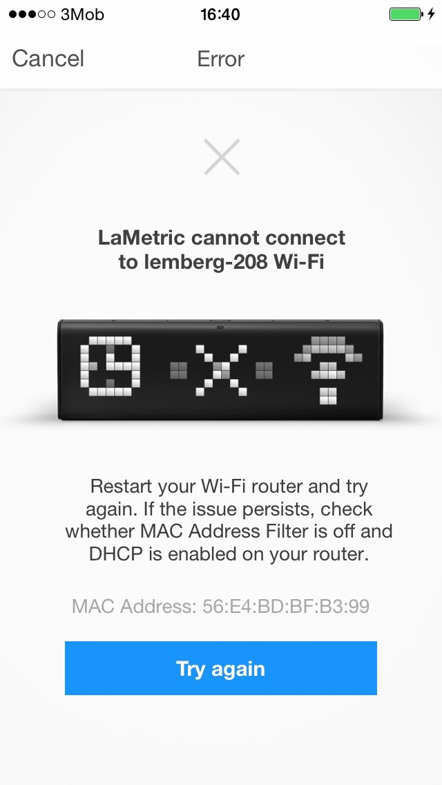 LaMetric Time can not connect to your Wi-Fi network : Support