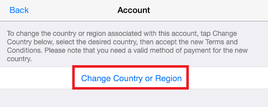Click on change country or region