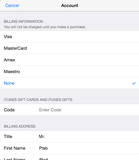 Linking your App Store account with a credit card