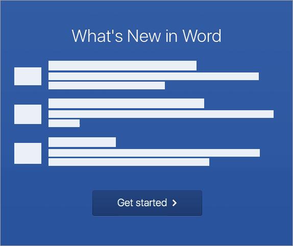 Start activating Word 2016 for Mac