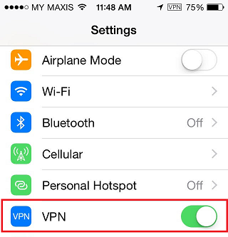 The VPN logo is shown on the top right corner of your iPhone