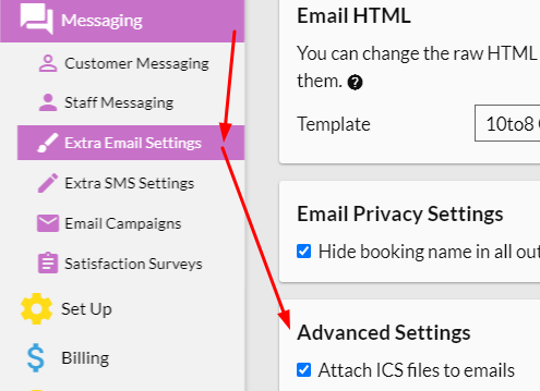 Messaging > Extra Email Settings and then look for the Advanced Settings section.
