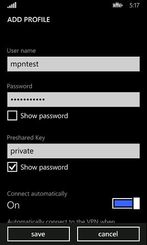 Enter your VPN username, password and then the preshared key: private