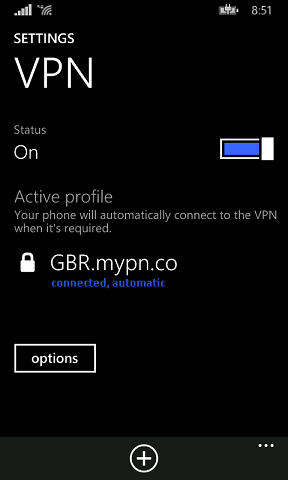 Once connected, you'll see a padlock icon on the top left corner on whatever network you're connected to. Under your VPN profile, connected can be seen