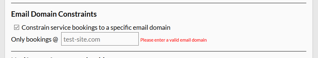 restrict bookings to a certain domain