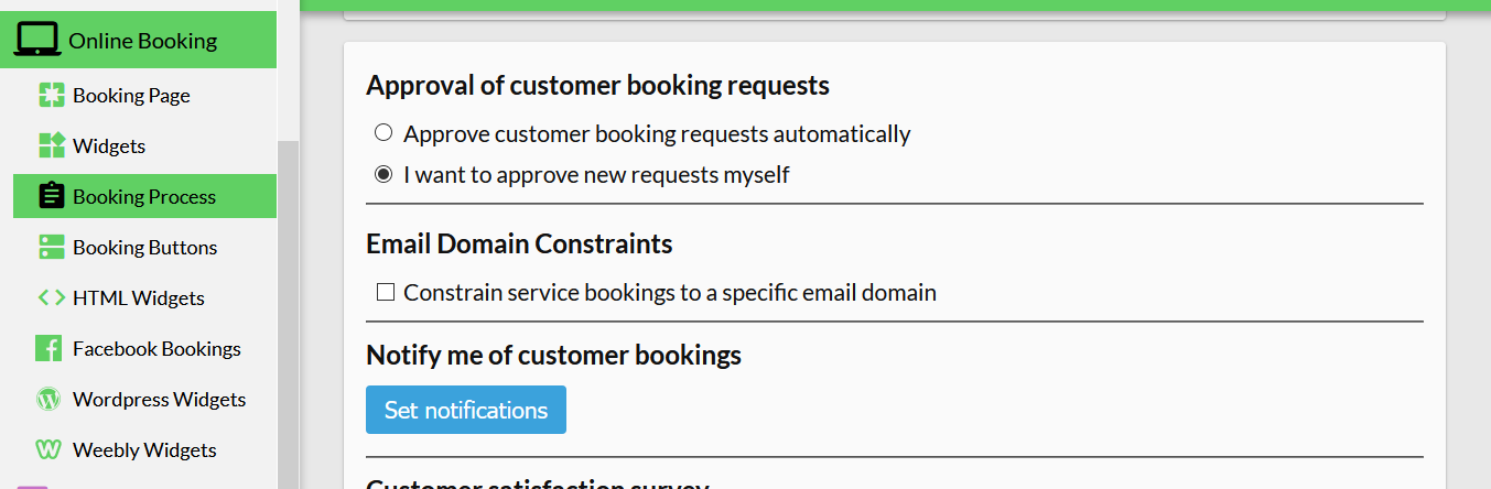 how to limit bookings to a domain within 10to8
