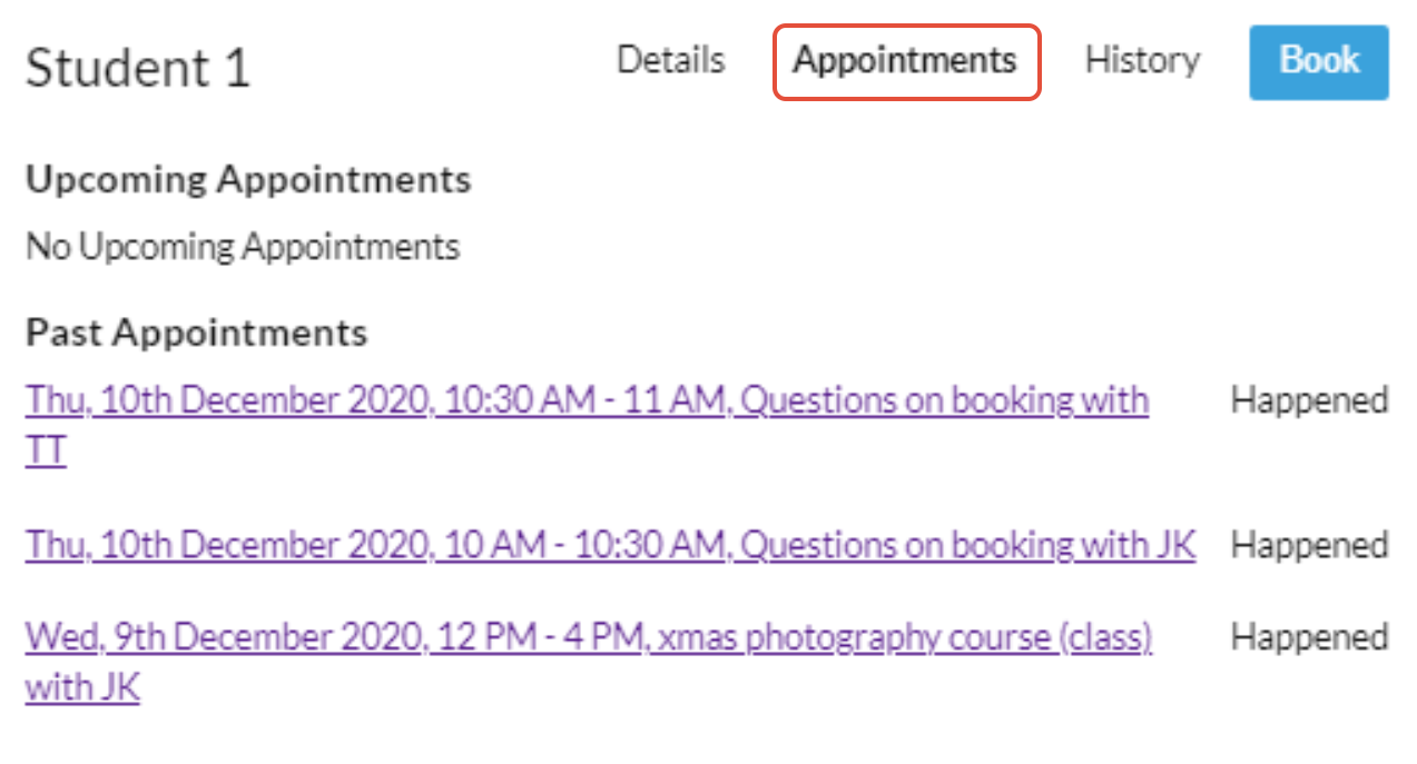 10to8 appointment history