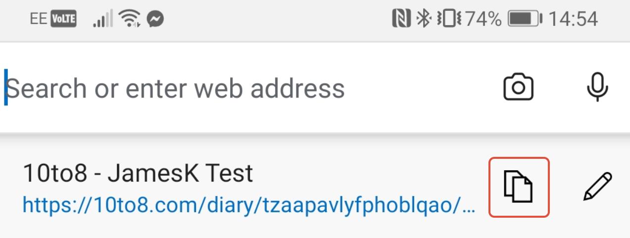Edge URL copy link