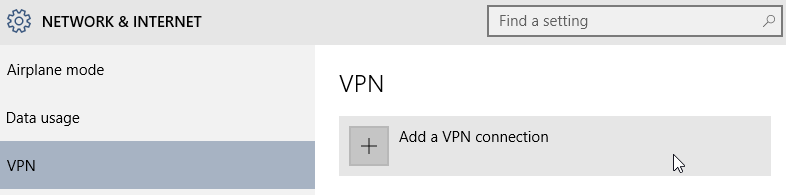 Windows 10 add VPN connection
