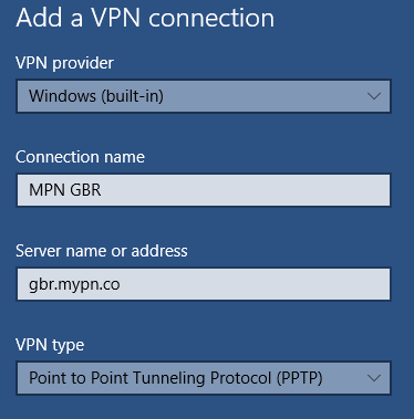 Windows 10 PPTP VPN Setup