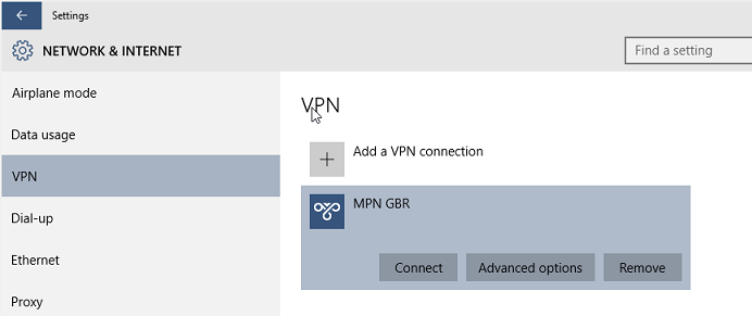 Connecting to the VPN on Windows 10