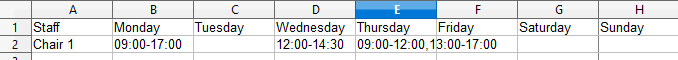 staff availability screen shot
