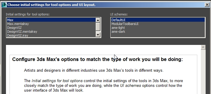 Choose initial settings for tool options and UI layout