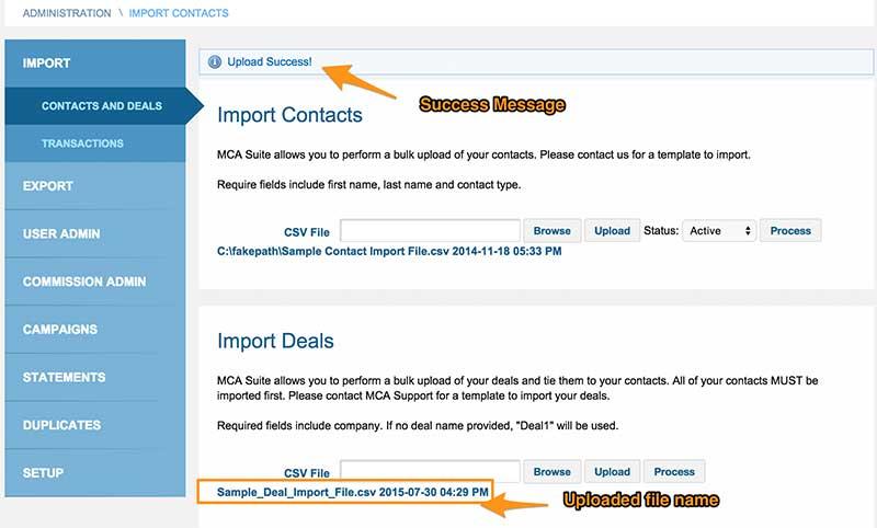 How do I import Deals? : MCA Suite