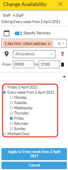 day/week options for  service specific availability