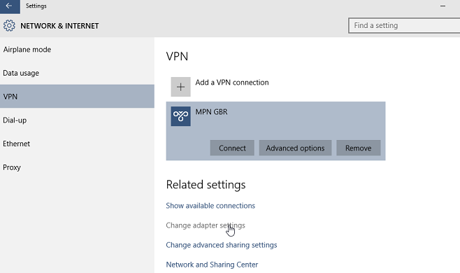 Windows 10 VPN change VPN adapter settings
