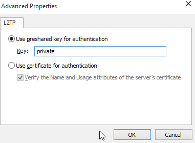 Windows 10 VPN L2TP preshared key